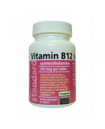 Vitamín B12 - Cyanocobalamine - 250 mcg - 60 tabliet
