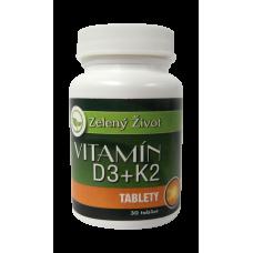 Zelený život Vitamín D3+ K2, 30 tabliet