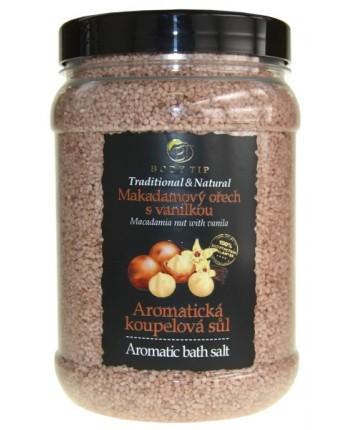 Body Tip Soľ do kúpeľa aromatická - Makadamový orech s vanilkou, 1500g